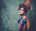 Woman muse with body art young creative and hairdo Royalty Free Stock Photos