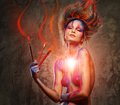 Woman muse with body art young creative and hairdo pain brushes Royalty Free Stock Photos