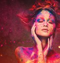 Woman muse with creative body art young and hairdo Royalty Free Stock Image