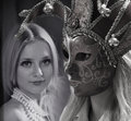 stock image of  Woman in mysterious Venetian mask. Beauty collage. Faces of women. Fashion photo.