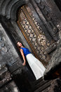 Woman at the mystical temple in bali Royalty Free Stock Image