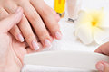 Woman in a nail salon receiving manicure by beautician beauty treatment concept Royalty Free Stock Image