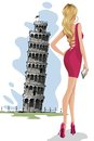 Woman near leaning tower of pisa vector illustration infront Royalty Free Stock Image