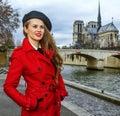 Woman near Notre Dame de Paris looking into the distance Royalty Free Stock Photo