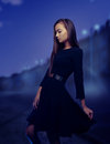 Woman in the night city Royalty Free Stock Photo