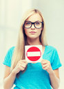 Woman with no entry sign Royalty Free Stock Photo