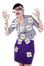 Woman with notes to remind tax time Royalty Free Stock Photo