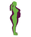 Woman Obesity and healthy woman illustration Royalty Free Stock Photo