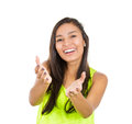 Woman offering closeup portrait young beautiful smiling happy excited with raised up palms arms at you something isolated white Stock Images