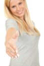 Woman offering hand for handshake Stock Photo