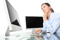 Woman in office at desk front of computer screen, mouse click Royalty Free Stock Photo