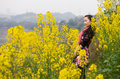 Woman and oilseed rape flower Royalty Free Stock Photo