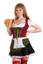 Woman Oktoberfest drinks beer