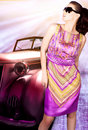 Woman and old car Royalty Free Stock Image