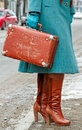 Woman old fashion case street Royalty Free Stock Photography
