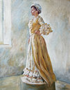 Woman in old fashioned dress standing oil illustration portrait of a profile by the window Royalty Free Stock Photo