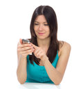 Woman online banking using her cellphone Royalty Free Stock Photography