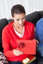 Woman open red gift box present Royalty Free Stock Photo