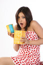 Woman opening the gift box Royalty Free Stock Photography