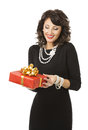 Woman Opening Gift Box, Happy Girl with Red Present Royalty Free Stock Photo