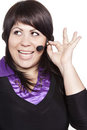 Woman operator with headset Stock Photo