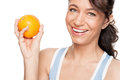 Woman with orange Stock Photo