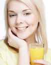 Woman with orange juice on white background Royalty Free Stock Photos