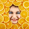 Woman and oranges beautiful expression face with orange slice frame Stock Photo