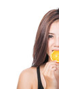 Woman with oranges in her hands Royalty Free Stock Images