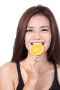 Woman with oranges in her hands Stock Photography