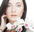Woman with orchid flower beautiful Stock Photo