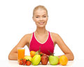 Woman with organic food or fruits picture of young Stock Images