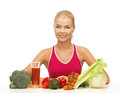 Woman with organic food picture of young Stock Image