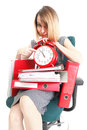 Woman overworked businesswoman holding plenty documents isolated white red folder timeer time Royalty Free Stock Photo
