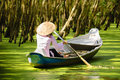Woman paddling in the  Tra Su flooded forest Royalty Free Stock Photography