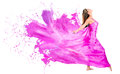 Woman in a paint dress happy pink isolated over white background Stock Photos