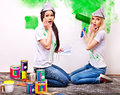 Woman paint wall at home happy women Royalty Free Stock Photos