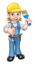 Woman Painter Decorator Cartoon Character