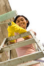 Woman and painting job Royalty Free Stock Photo
