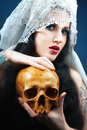 Woman pale face skull skull Royalty Free Stock Image