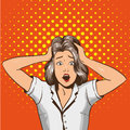 Woman in panic. Vector illustration in pop art retro style. Stressed girl in shock grabs her head in hands