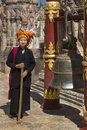 Woman pao people ringing temple bell kakku buddhist temple shan state myanmar burma Royalty Free Stock Photos