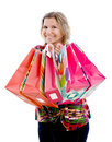 Woman with paper bags Stock Images