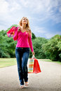 Woman with paper bags Royalty Free Stock Photography