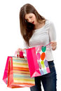 Woman with paper bags Stock Image