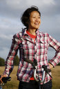 Woman in the park cycling - 01 Stock Photography