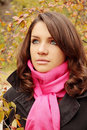 Woman in park portrait of a beautiful young autumn Royalty Free Stock Photos