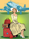 Woman passenger airport baggage Royalty Free Stock Photo