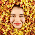 Woman and pasta beautiful expression face with tri color frame Royalty Free Stock Image