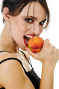 Woman and peach Royalty Free Stock Photos